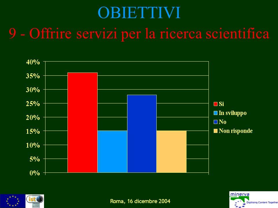 Roma, 16 dicembre 2004 OBIETTIVI 9 - Offrire servizi per la ricerca scientifica