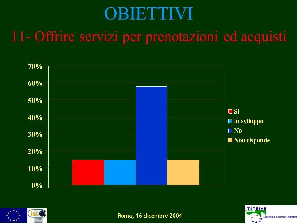 Roma, 16 dicembre 2004 OBIETTIVI 11- Offrire servizi per prenotazioni ed acquisti