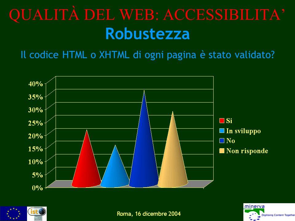 Roma, 16 dicembre 2004 QUALITÀ DEL WEB: ACCESSIBILITA Robustezza Il codice HTML o XHTML di ogni pagina è stato validato