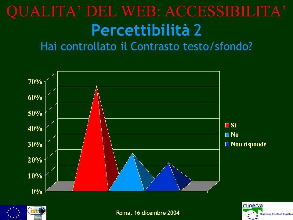 Roma, 16 dicembre 2004 QUALITA DEL WEB: ACCESSIBILITA Percettibilità 2 Hai controllato il Contrasto testo/sfondo