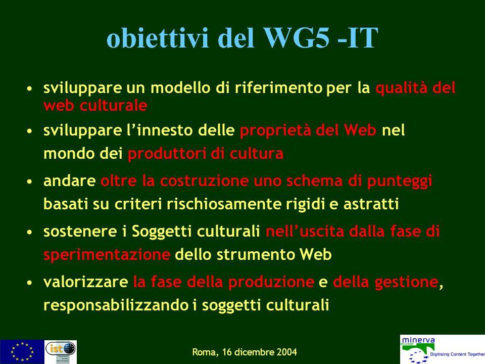 Roma, 16 dicembre 2004 obiettivi del WG5 -IT sviluppare un modello di riferimento per la qualità del web culturale sviluppare linnesto delle proprietà