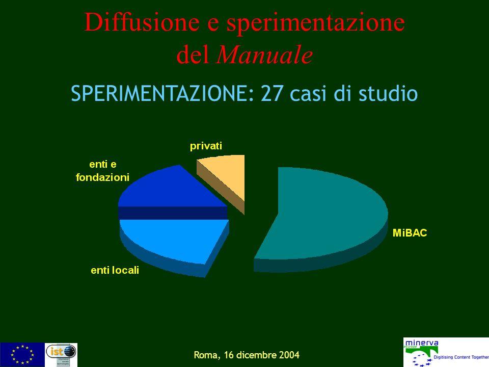 Roma, 16 dicembre 2004 Diffusione e sperimentazione del Manuale SPERIMENTAZIONE: 27 casi di studio