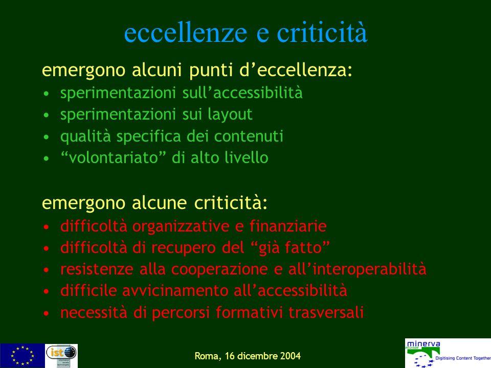 Roma, 16 dicembre 2004 eccellenze e criticità emergono alcuni punti deccellenza: sperimentazioni sullaccessibilità sperimentazioni sui layout qualità