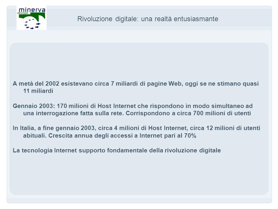 Rivoluzione digitale: una realtà entusiasmante A metà del 2002 esistevano circa 7 miliardi di pagine Web, oggi se ne stimano quasi 11 miliardi Gennaio 2003: 170 milioni di Host Internet che rispondono in modo simultaneo ad una interrogazione fatta sulla rete.
