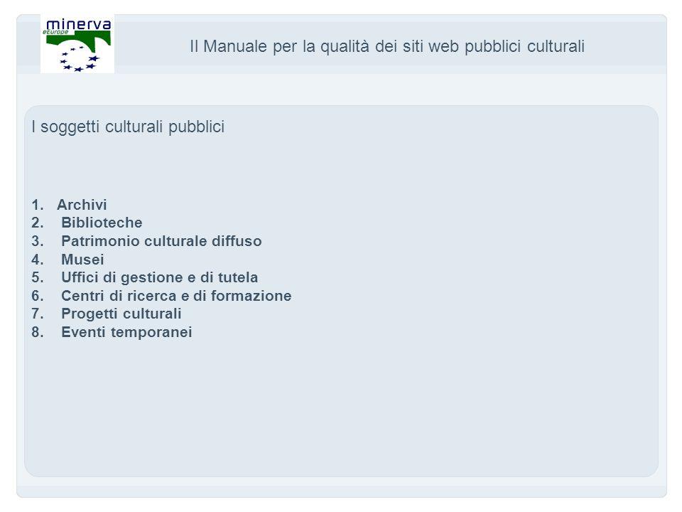 Il Manuale per la qualità dei siti web pubblici culturali I soggetti culturali pubblici 1.Archivi 2.