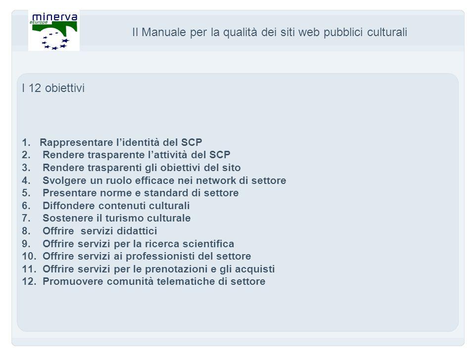 Il Manuale per la qualità dei siti web pubblici culturali I 12 obiettivi 1.Rappresentare lidentità del SCP 2.
