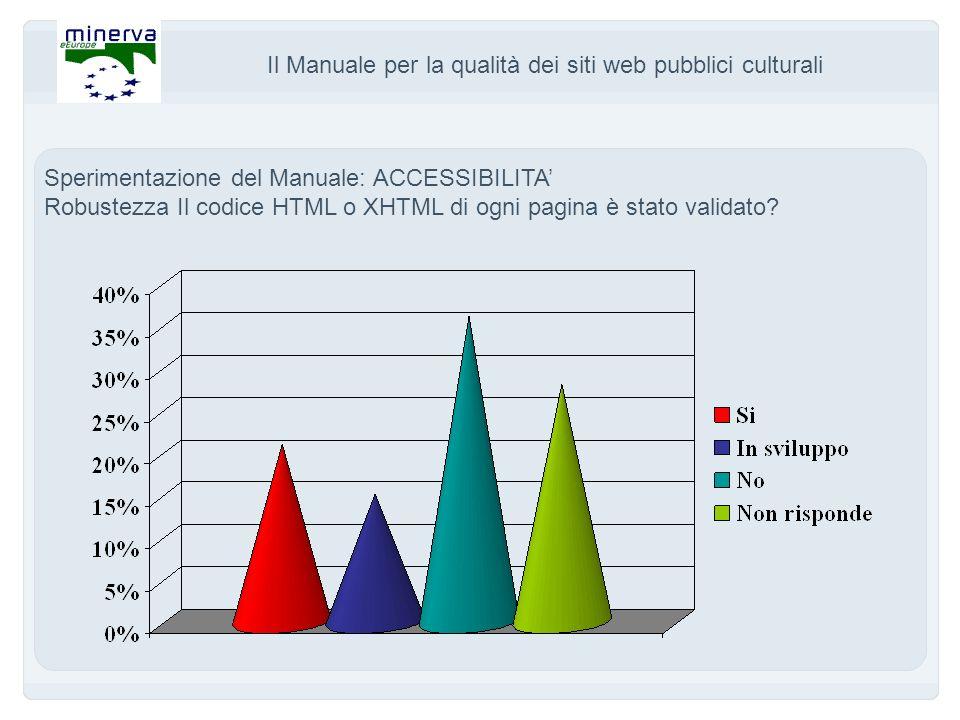 Il Manuale per la qualità dei siti web pubblici culturali Sperimentazione del Manuale: ACCESSIBILITA Robustezza Il codice HTML o XHTML di ogni pagina è stato validato