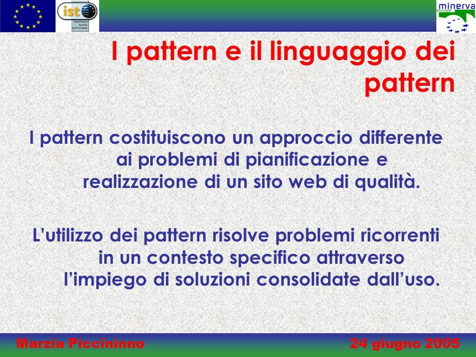 Marzia Piccininno 24 giugno 2005 I pattern e il linguaggio dei pattern I pattern costituiscono un approccio differente ai problemi di pianificazione e realizzazione di un sito web di qualità.