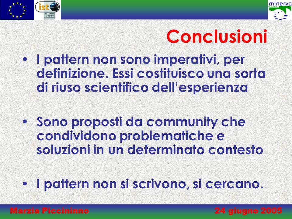Marzia Piccininno 24 giugno 2005 Conclusioni I pattern non sono imperativi, per definizione.