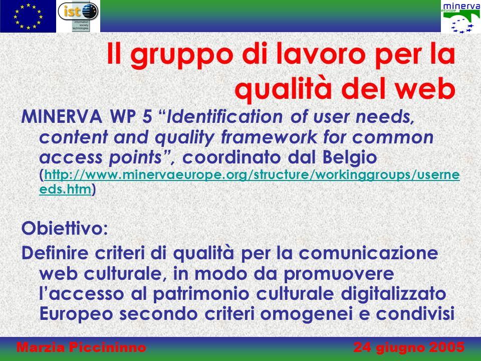 Marzia Piccininno 24 giugno 2005 Background Criteri di qualità per i contenuti culturali digitalizzati sono già suggeriti nei Principi di Lund (2001) (http://www.cordis.lu/ist/directorate_e/digicult/lund_principles.htm).http://www.cordis.lu/ist/directorate_e/digicult/lund_principles.htm La risoluzione Culture and the Knowledge Society (2002/C 32/01) invita la Commissione e gli Stati Membri ad incoraggiare iniziative per la qualità dei siti web culturali (http://europa.eu.int/eur- lex/pri/en/oj/dat/2002/c_032/c_03220020205en00010001.pdf).http://europa.eu.int/eur- lex/pri/en/oj/dat/2002/c_032/c_03220020205en00010001.pdf Il Brussels Quality Framework (2001) è il primo documento europeo che tenta di definire criteri oggettivi per la qualità per i siti web culturali (http://www.cfwb.be/qualite-bruxelles/gb/qualityframework11december.doc)http://www.cfwb.be/qualite-bruxelles/gb/qualityframework11december.doc