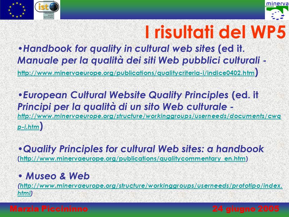 Marzia Piccininno 24 giugno 2005 Manuale per la qualità dei siti Web pubblici culturali Presentato nel corso della conferenza internazionale di Parma (21 Novembre 2003) Qualità del Web per la cultura.