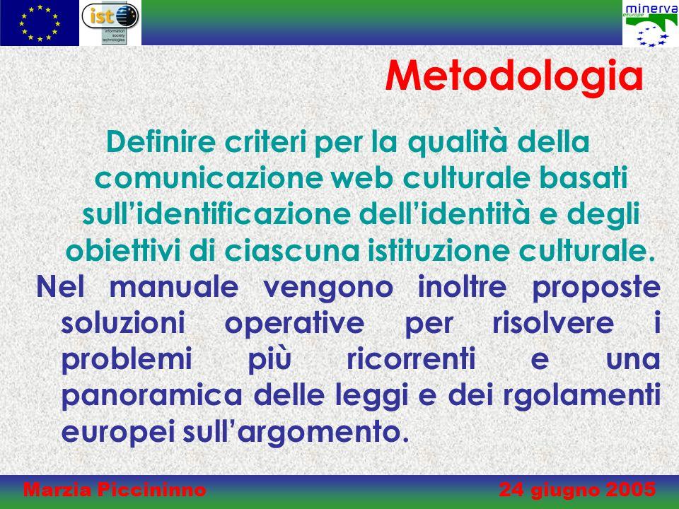 Marzia Piccininno 24 giugno 2005 Metodologia Definire criteri per la qualità della comunicazione web culturale basati sullidentificazione dellidentità e degli obiettivi di ciascuna istituzione culturale.
