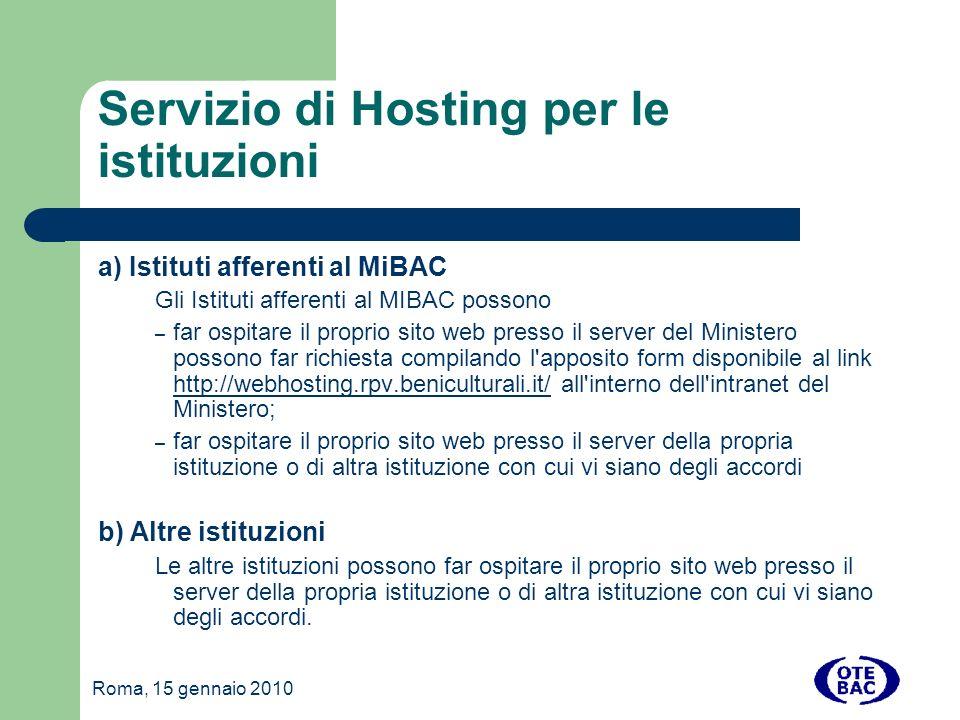 Roma, 15 gennaio 2010 Installazione 2- CONFIGURAZIONE PARAMETRI APPLICAZIONE Aprire il file e modificare i parametri di connessione come segue: DB_HOST: deve essere il nome dell host del database mysql DB_NAME: nome del database DB_USER: nome utente per la connessione al database DB_PSW: password per la connessione al database SMTP_HOST: nome dell host del server SMTP per l invio delle email, lasciare vuoto per l invio tramite server in locale SMTP_USER: se il server SMTP necessita di un autenticazione specificare il nome utente SMTP_PSW: se il server SMTP necessita di un autenticazione specificare la password SMTP_SENDER: nome del mittente quando il sistema invia una email SMTP_SENDER: email del mittente quando il sistema invia una email