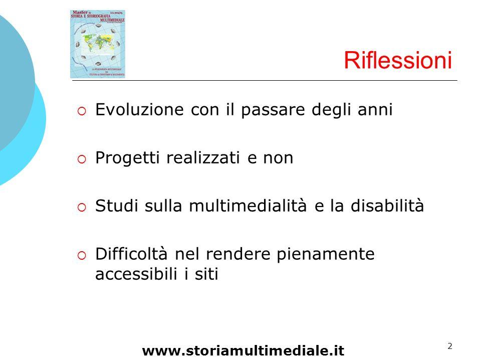 2 Riflessioni Evoluzione con il passare degli anni Progetti realizzati e non Studi sulla multimedialità e la disabilità Difficoltà nel rendere piename