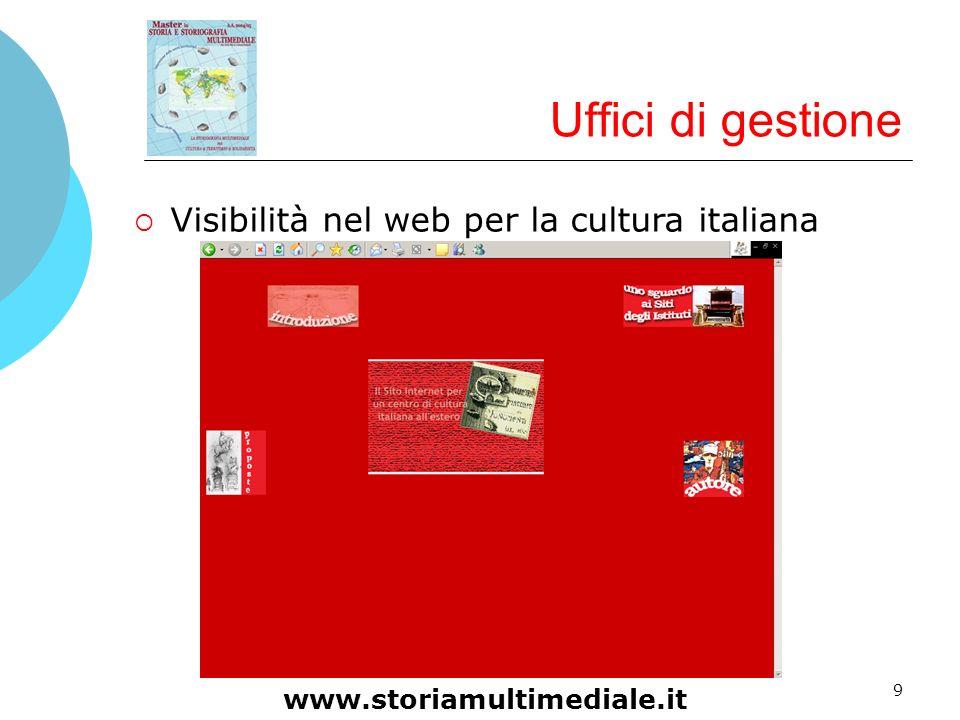 9 Uffici di gestione Visibilità nel web per la cultura italiana www.storiamultimediale.it