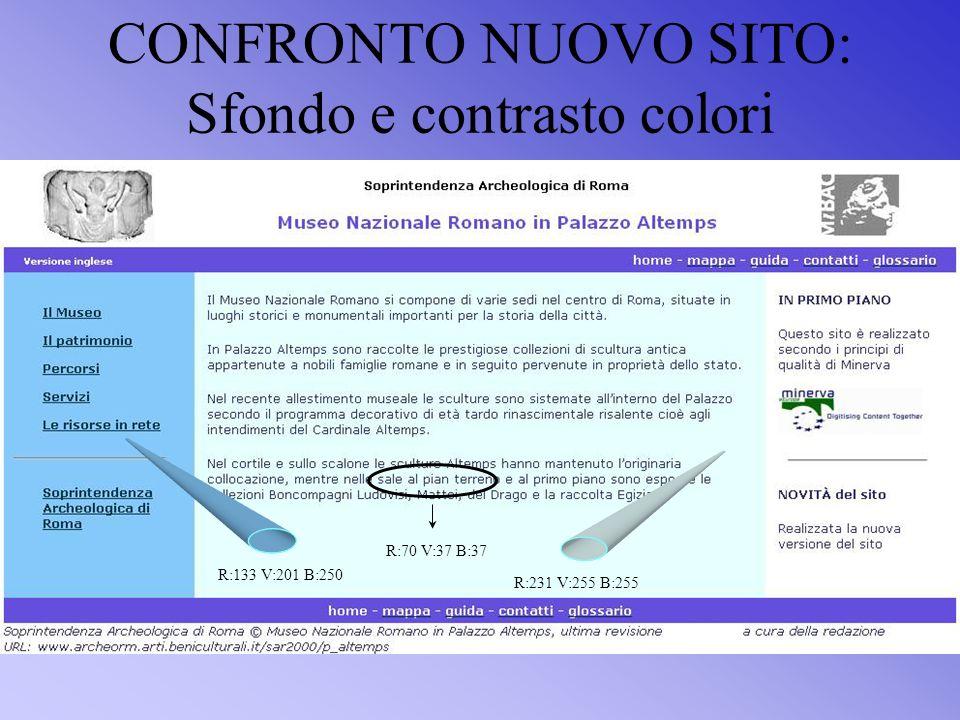CONFRONTO NUOVO SITO: Sfondo e contrasto colori R:133 V:201 B:250 R:70 V:37 B:37 R:231 V:255 B:255
