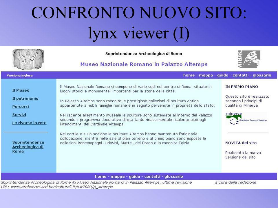 CONFRONTO NUOVO SITO: lynx viewer (I)