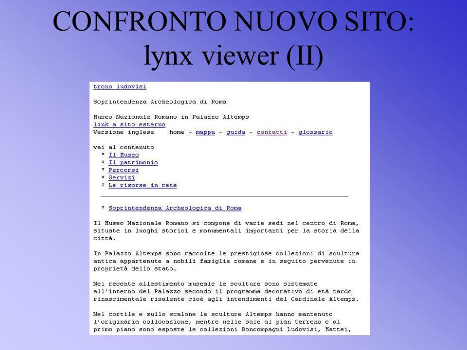 CONFRONTO NUOVO SITO: lynx viewer (II)