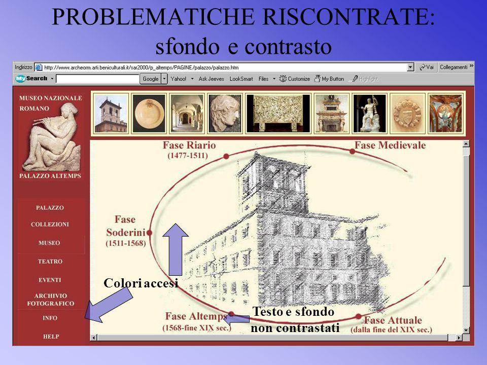 PROBLEMATICHE RISCONTRATE: sfondo e contrasto Colori accesi Testo e sfondo non contrastati