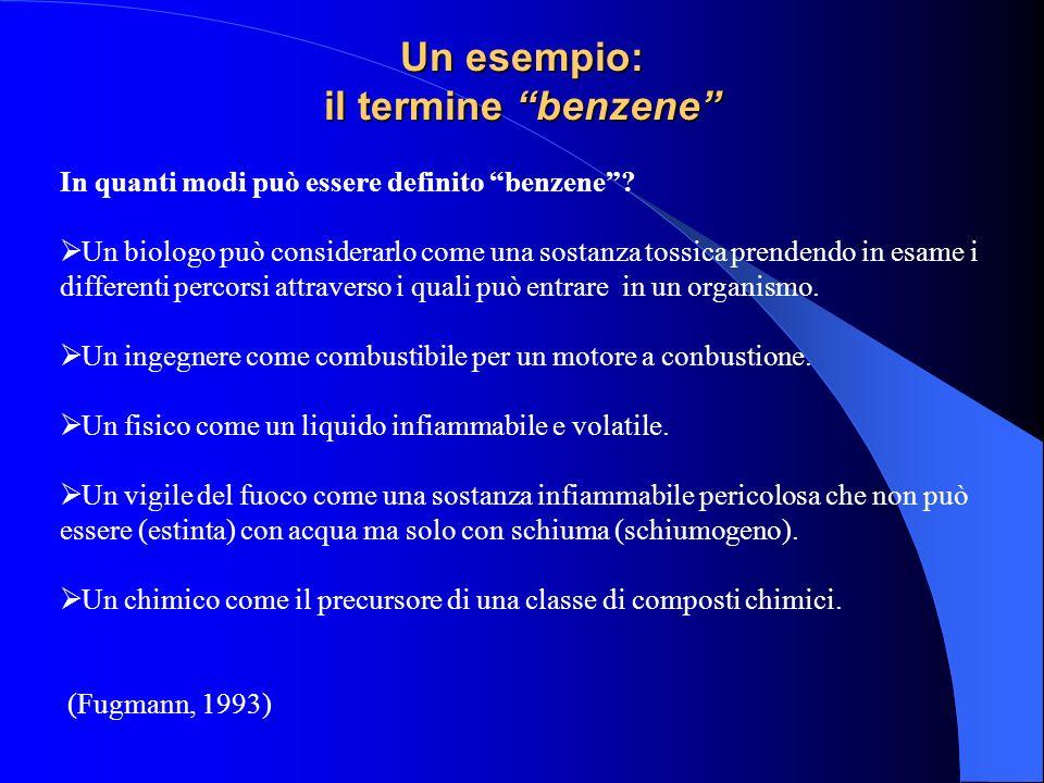 Un esempio: il termine benzene In quanti modi può essere definito benzene? Un biologo può considerarlo come una sostanza tossica prendendo in esame i