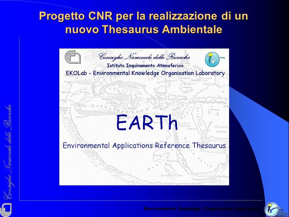 Progetto CNR per la realizzazione di un nuovo Thesaurus Ambientale Environmental Knowledge Organisation Laboratory