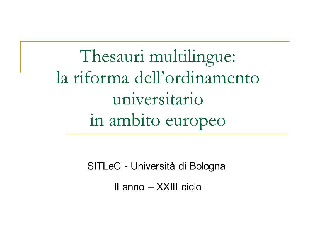 Thesauri multilingue: la riforma dellordinamento universitario in ambito europeo SITLeC - Università di Bologna II anno – XXIII ciclo
