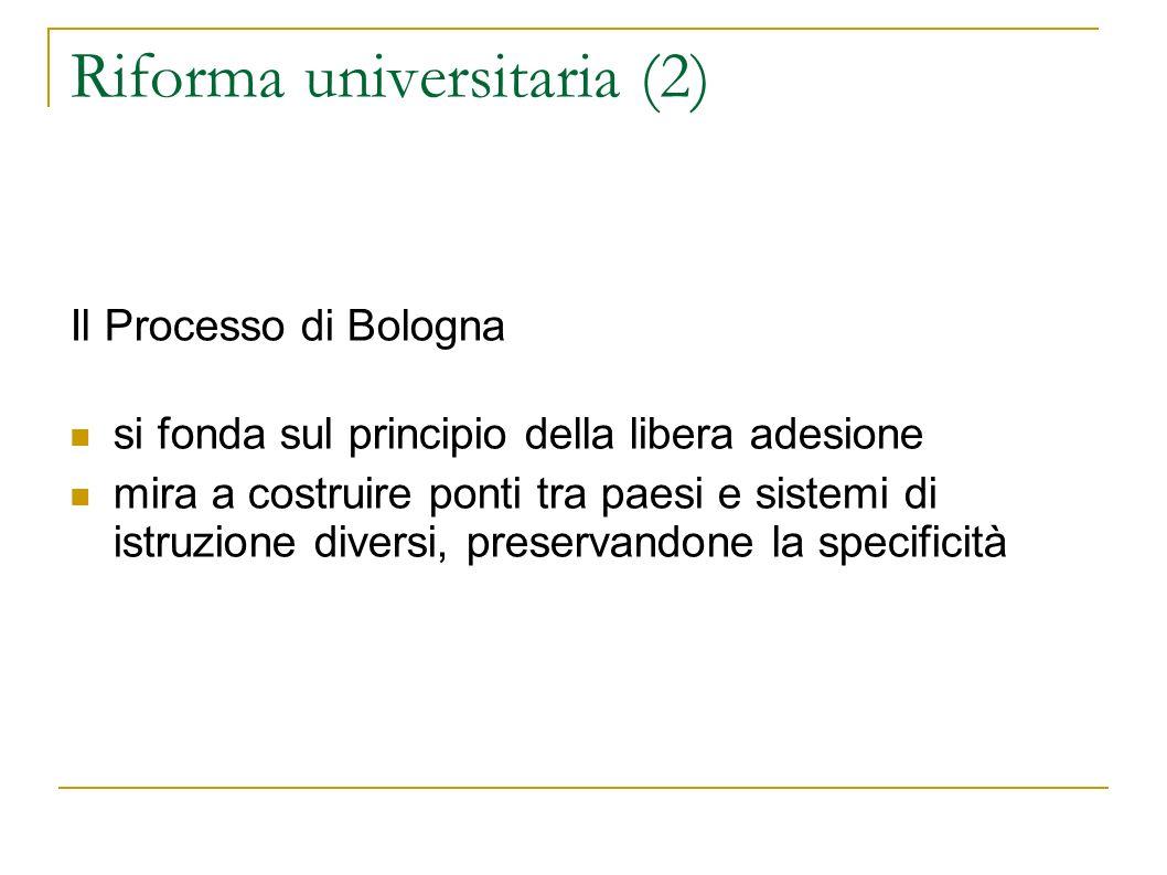Riforma universitaria (2) Il Processo di Bologna si fonda sul principio della libera adesione mira a costruire ponti tra paesi e sistemi di istruzione