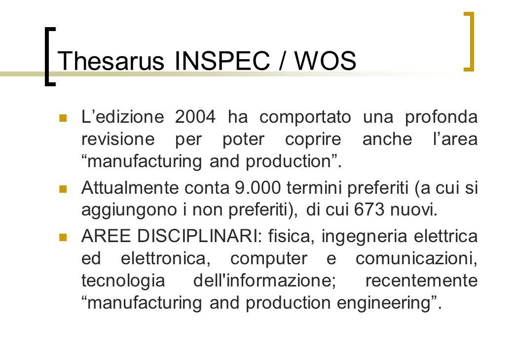 Thesarus INSPEC / WOS Ledizione 2004 ha comportato una profonda revisione per poter coprire anche larea manufacturing and production.