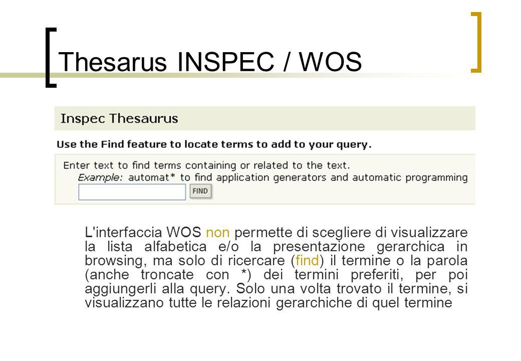 Thesarus INSPEC / WOS L interfaccia WOS non permette di scegliere di visualizzare la lista alfabetica e/o la presentazione gerarchica in browsing, ma solo di ricercare (find) il termine o la parola (anche troncate con *) dei termini preferiti, per poi aggiungerli alla query.