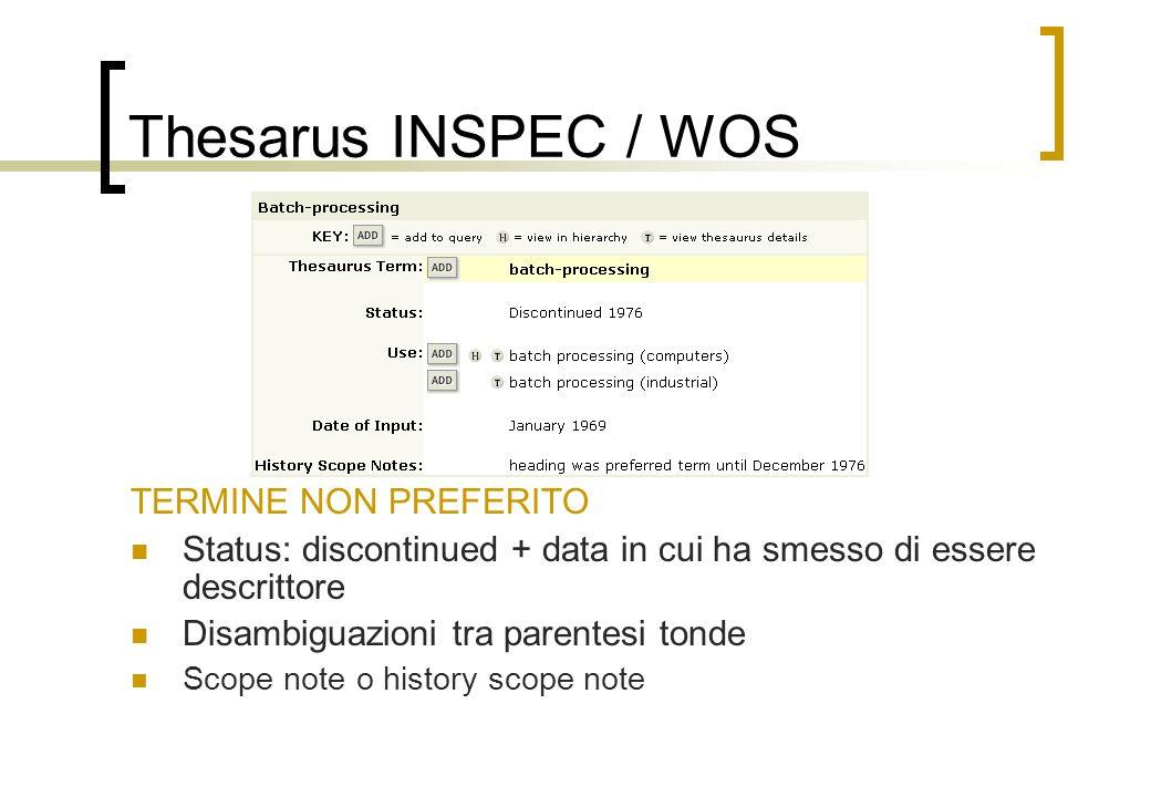 Thesarus INSPEC / WOS TERMINE NON PREFERITO Status: discontinued + data in cui ha smesso di essere descrittore Disambiguazioni tra parentesi tonde Scope note o history scope note
