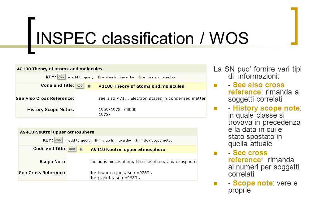 INSPEC classification / WOS La SN puo fornire vari tipi di informazioni: - See also cross reference: rimanda a soggetti correlati - History scope note: in quale classe si trovava in precedenza e la data in cui e stato spostato in quella attuale - See cross reference: rimanda ai numeri per soggetti correlati - Scope note: vere e proprie
