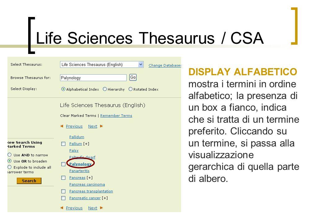 Life Sciences Thesaurus / CSA DISPLAY ALFABETICO mostra i termini in ordine alfabetico; la presenza di un box a fianco, indica che si tratta di un termine preferito.