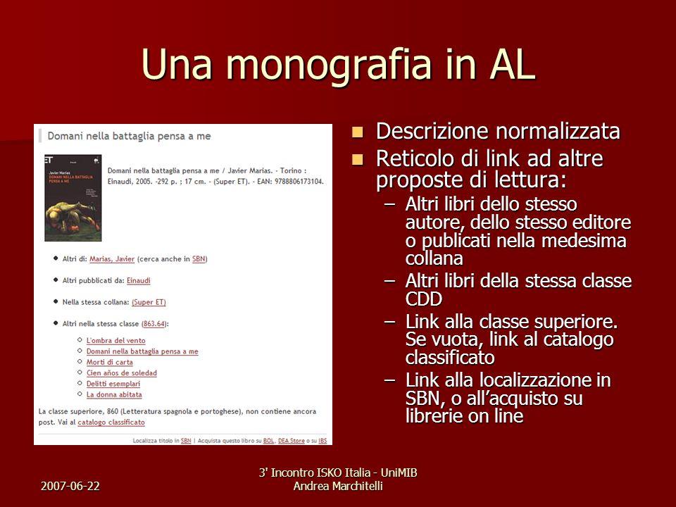 2007-06-22 3' Incontro ISKO Italia - UniMIB Andrea Marchitelli Una monografia in AL Descrizione normalizzata Descrizione normalizzata Reticolo di link