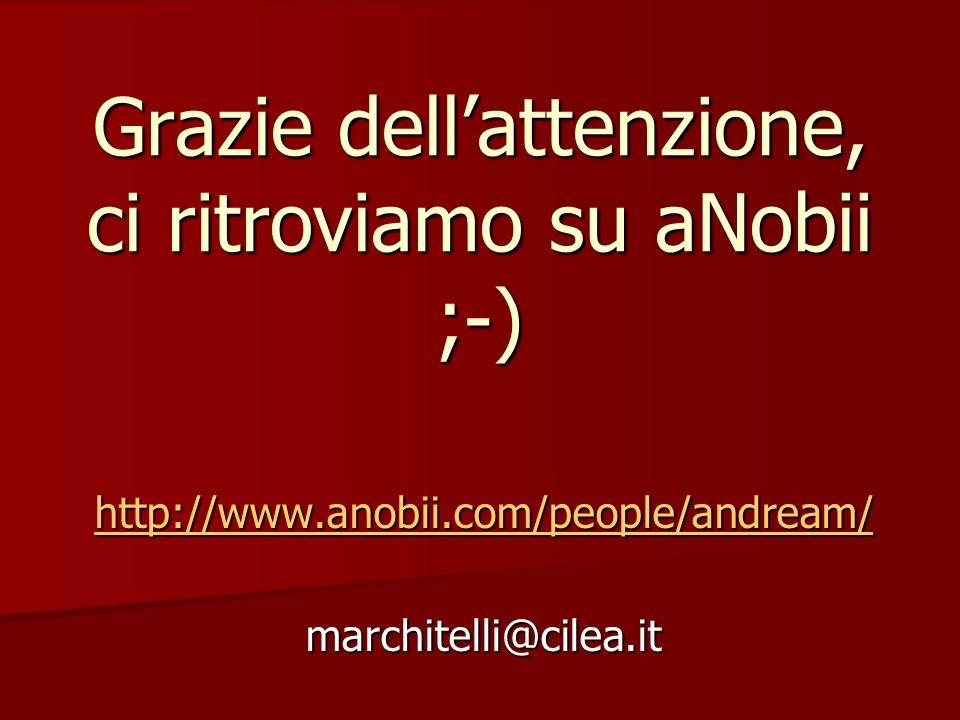 Grazie dellattenzione, ci ritroviamo su aNobii ;-) http://www.anobii.com/people/andream/ marchitelli@cilea.it