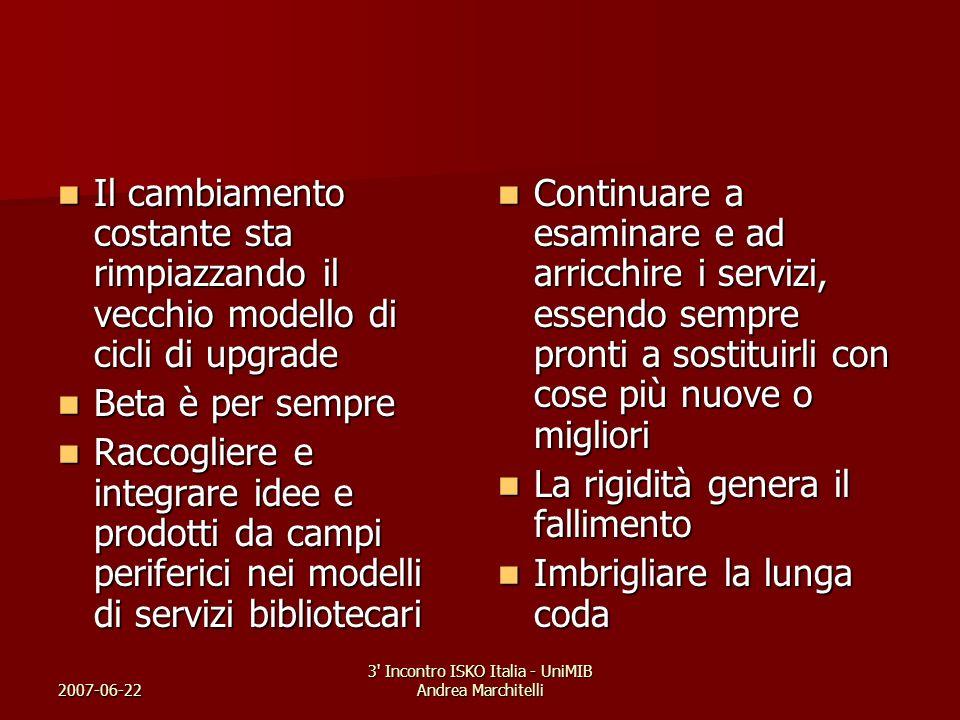 2007-06-22 3' Incontro ISKO Italia - UniMIB Andrea Marchitelli Il cambiamento costante sta rimpiazzando il vecchio modello di cicli di upgrade Il camb