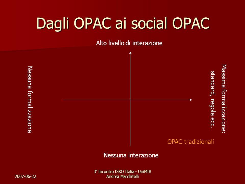 2007-06-22 3' Incontro ISKO Italia - UniMIB Andrea Marchitelli Dagli OPAC ai social OPAC Nessuna interazione Alto livello di interazione Nessuna forma