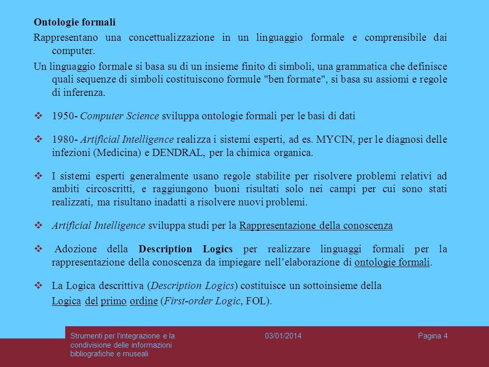 03/01/2014Strumenti per l'integrazione e la condivisione delle informazioni bibliografiche e museali Pagina 4 Ontologie formali Rappresentano una conc