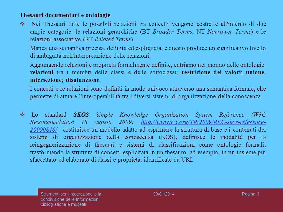 03/01/2014Strumenti per l'integrazione e la condivisione delle informazioni bibliografiche e museali Pagina 6 Thesauri documentari e ontologie Nei The