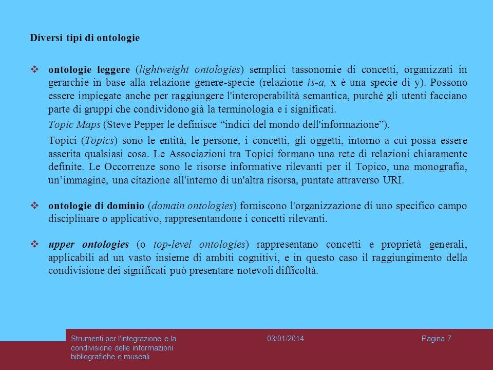 03/01/2014Strumenti per l'integrazione e la condivisione delle informazioni bibliografiche e museali Pagina 7 Diversi tipi di ontologie ontologie legg