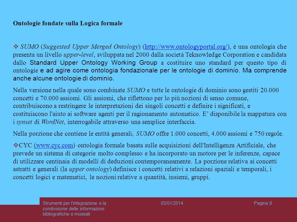 03/01/2014Strumenti per l'integrazione e la condivisione delle informazioni bibliografiche e museali Pagina 8 Ontologie fondate sulla Logica formale S