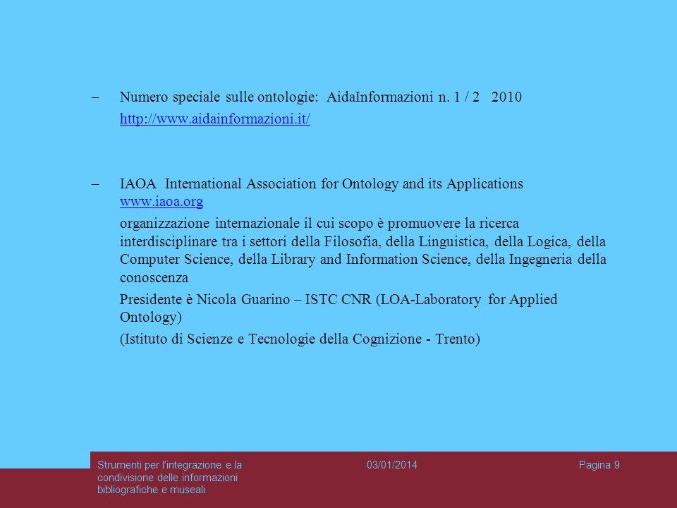 03/01/2014Strumenti per l'integrazione e la condivisione delle informazioni bibliografiche e museali Pagina 9 –Numero speciale sulle ontologie: AidaIn