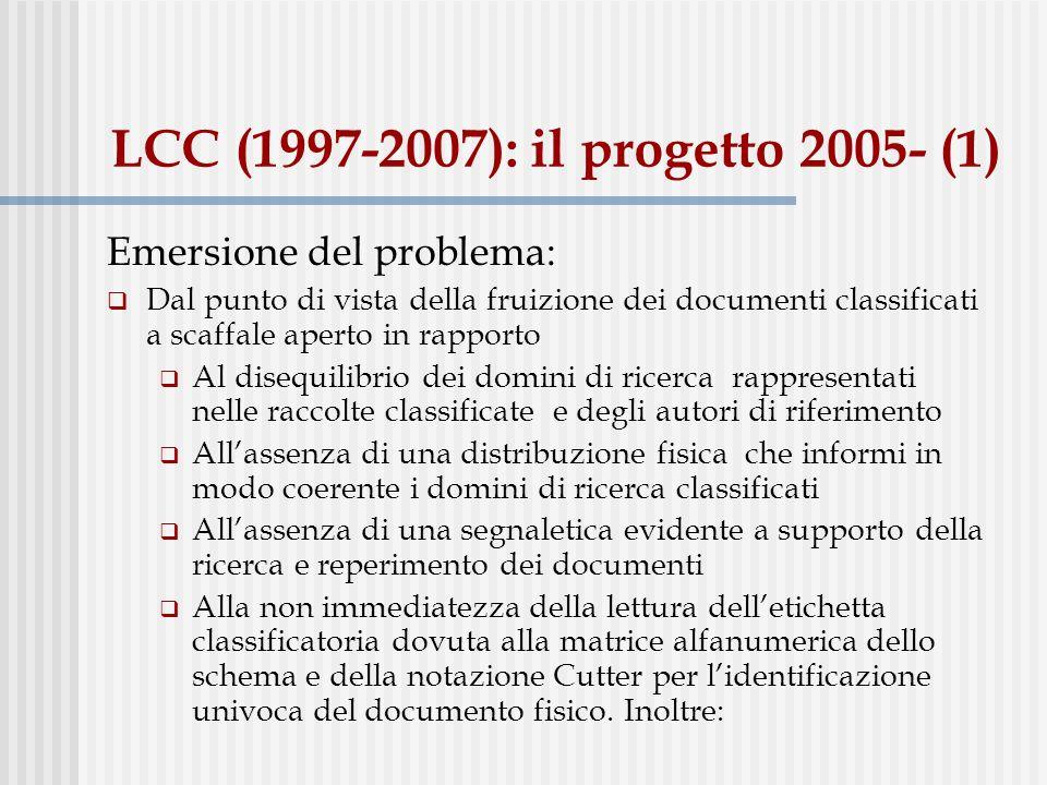 LCC (1997-2007): il progetto 2005- (1) Emersione del problema: Dal punto di vista della fruizione dei documenti classificati a scaffale aperto in rapp