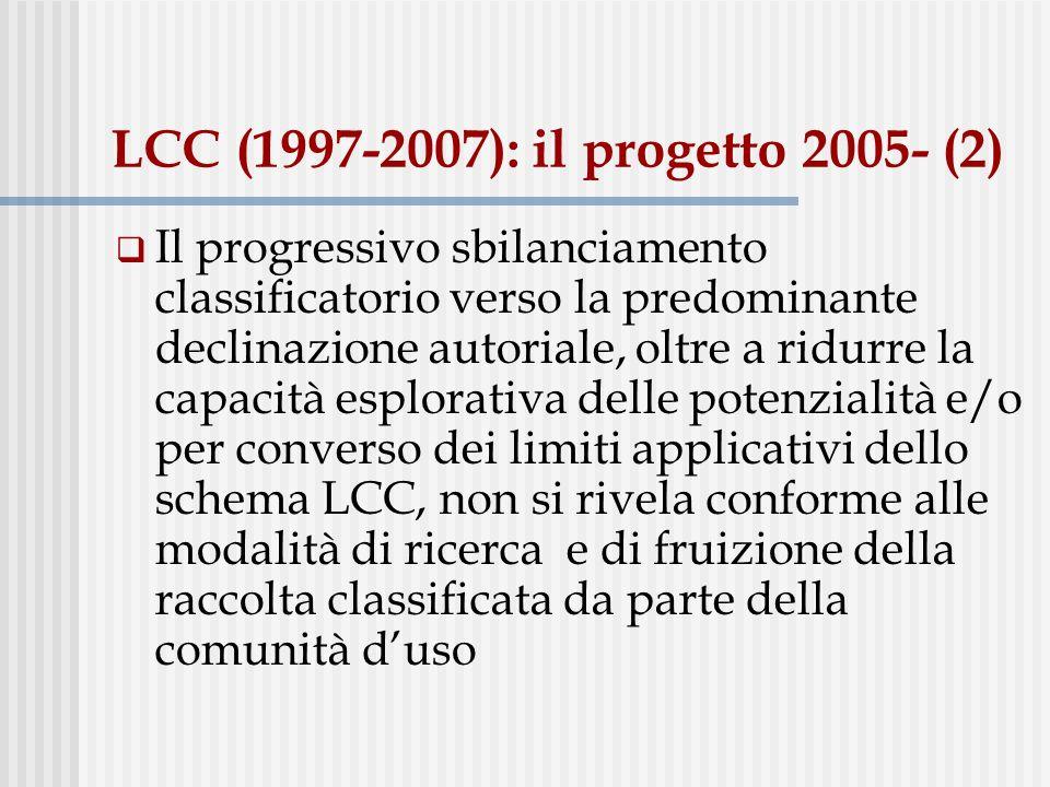 LCC (1997-2007): il progetto 2005- (2) Il progressivo sbilanciamento classificatorio verso la predominante declinazione autoriale, oltre a ridurre la capacità esplorativa delle potenzialità e/o per converso dei limiti applicativi dello schema LCC, non si rivela conforme alle modalità di ricerca e di fruizione della raccolta classificata da parte della comunità duso