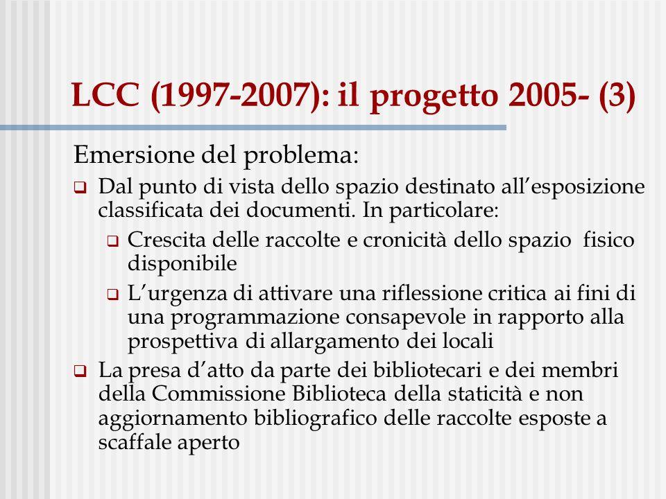 LCC (1997-2007): il progetto 2005- (3) Emersione del problema: Dal punto di vista dello spazio destinato allesposizione classificata dei documenti. In