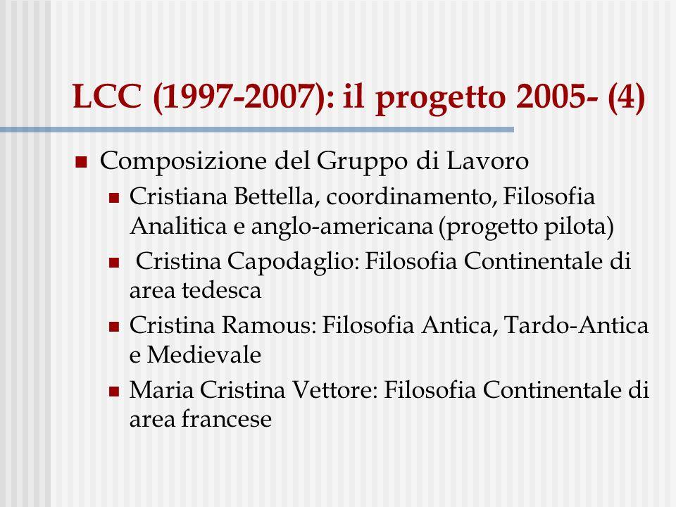 LCC (1997-2007): il progetto 2005- (4) Composizione del Gruppo di Lavoro Cristiana Bettella, coordinamento, Filosofia Analitica e anglo-americana (pro