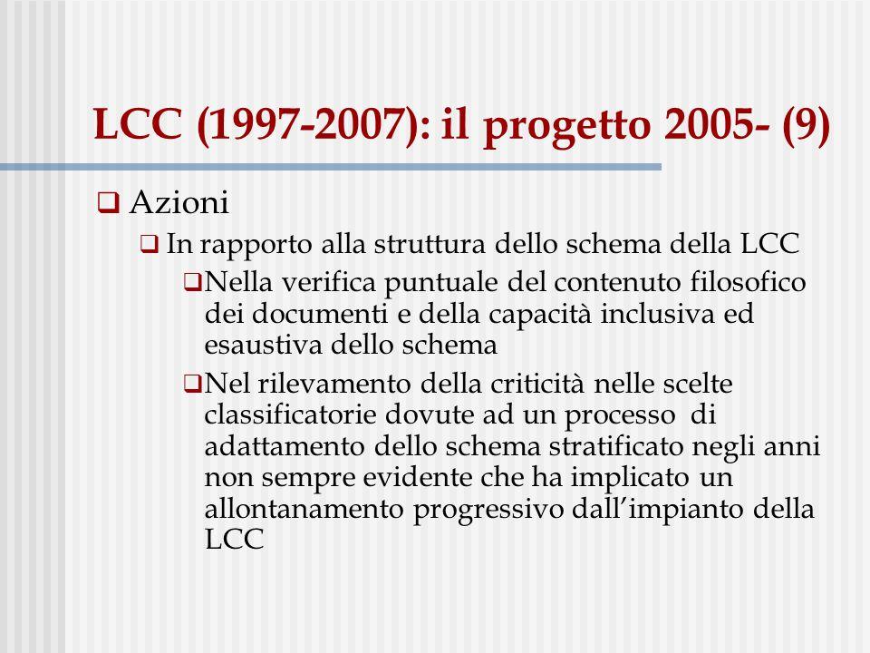 LCC (1997-2007): il progetto 2005- (9) Azioni In rapporto alla struttura dello schema della LCC Nella verifica puntuale del contenuto filosofico dei documenti e della capacità inclusiva ed esaustiva dello schema Nel rilevamento della criticità nelle scelte classificatorie dovute ad un processo di adattamento dello schema stratificato negli anni non sempre evidente che ha implicato un allontanamento progressivo dallimpianto della LCC