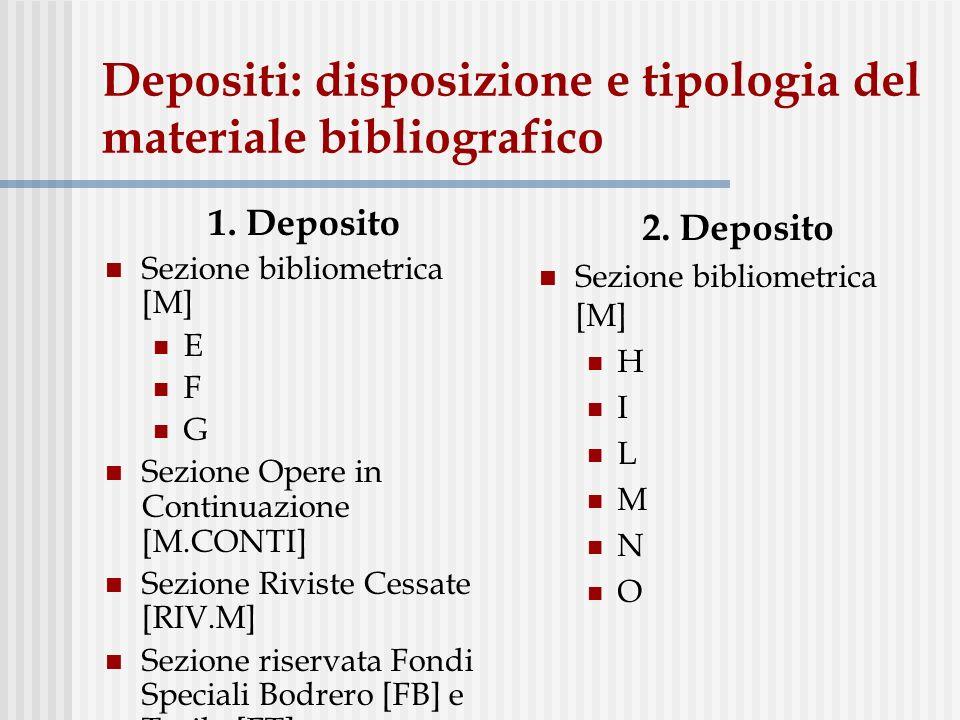 Depositi: disposizione e tipologia del materiale bibliografico 1. Deposito Sezione bibliometrica [M] E F G Sezione Opere in Continuazione [M.CONTI] Se