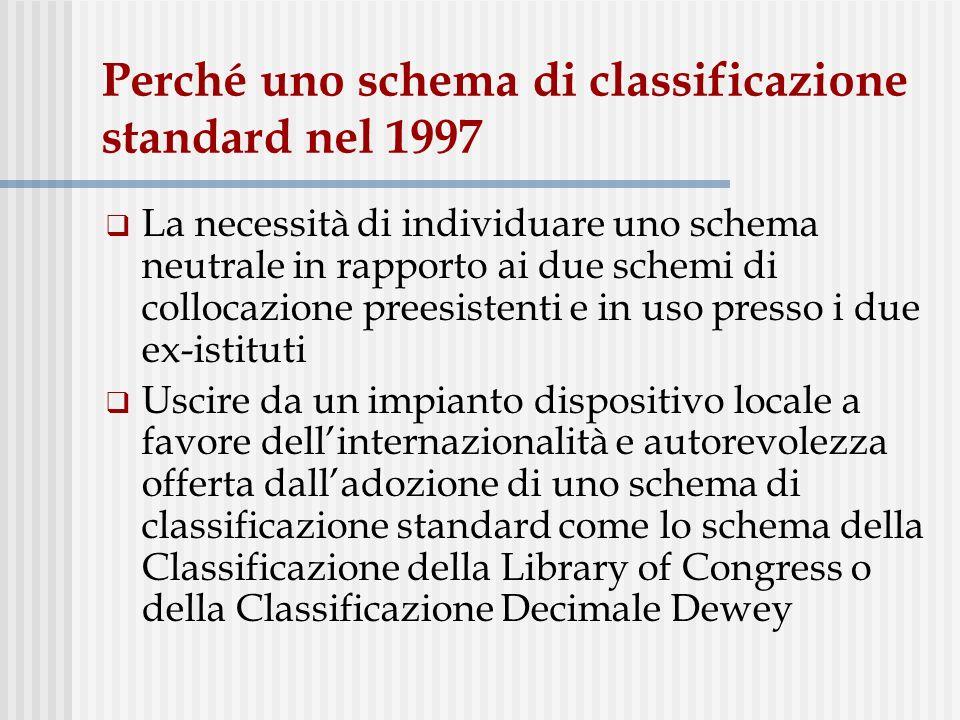 Perché uno schema di classificazione standard nel 1997 La necessità di individuare uno schema neutrale in rapporto ai due schemi di collocazione prees