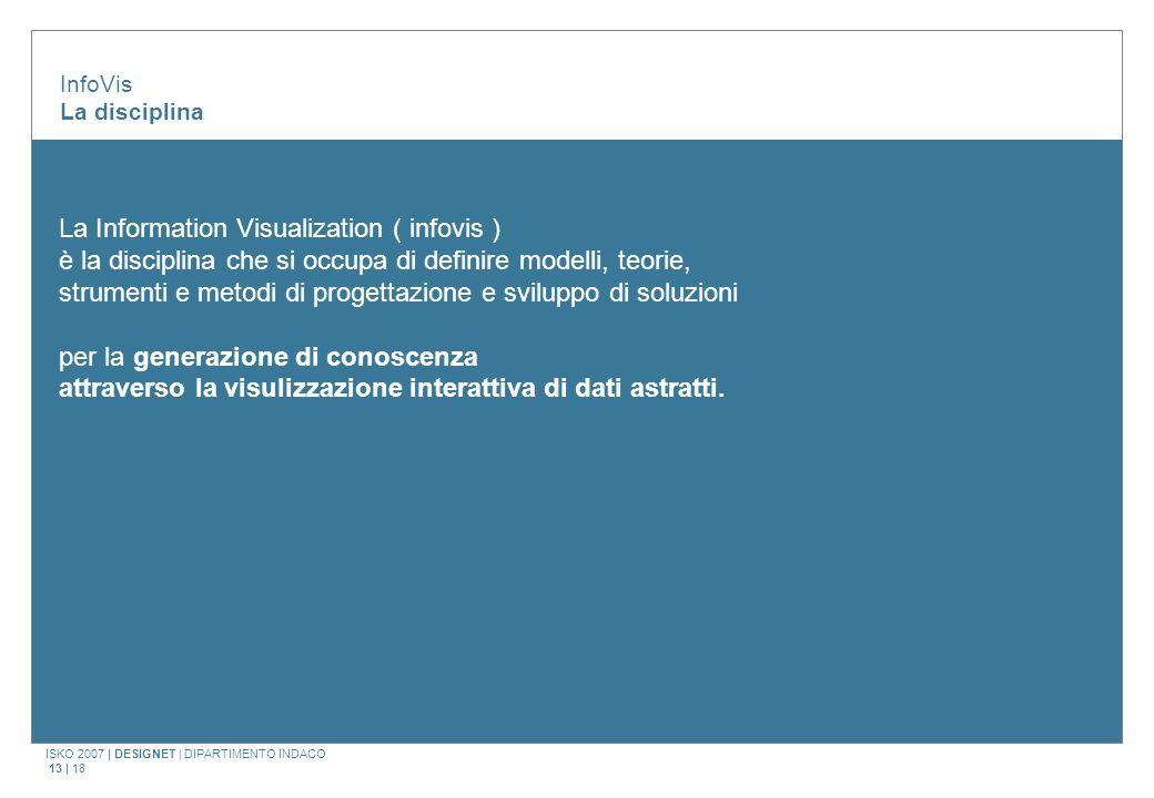 ISKO 2007 | DESIGNET | DIPARTIMENTO INDACO 13 | 18 InfoVis La disciplina La Information Visualization ( infovis ) è la disciplina che si occupa di definire modelli, teorie, strumenti e metodi di progettazione e sviluppo di soluzioni per la generazione di conoscenza attraverso la visulizzazione interattiva di dati astratti.