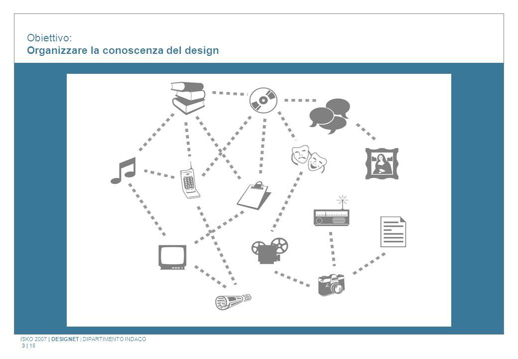 ISKO 2007   DESIGNET   DIPARTIMENTO INDACO 4   18 Il modello DesignNet Premesse di ricerca e progetto Creazione di una knowledge base per il design (eterogeneità della documentazione) Esigenze di documentazione per le attività di didattica e di ricerca (laboratorio MAST) Esistenza di iniziative di catalogazione non interrelate e con criteri non uniformi Una generale volontà di esplorare le potenzialità e la ricchezza degli ambienti digitali e delle tecnologie di rete